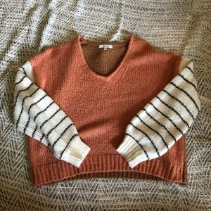 Ballon-Sleeve Pullover Sweater In Colorblock